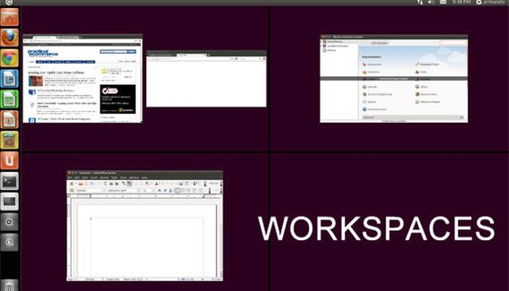 Workspaces in Ubuntu 11.04's Unity desktop allows users to organize applications.