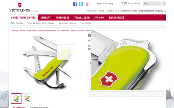 Victorinox' product pages feature large, zoom ready images.