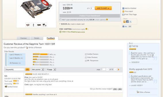 Newegg often has more than 75 individual product reviews on its product detail pages.