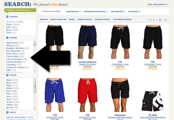 Zappos makes extensive use of facets and layers in its site navigation.