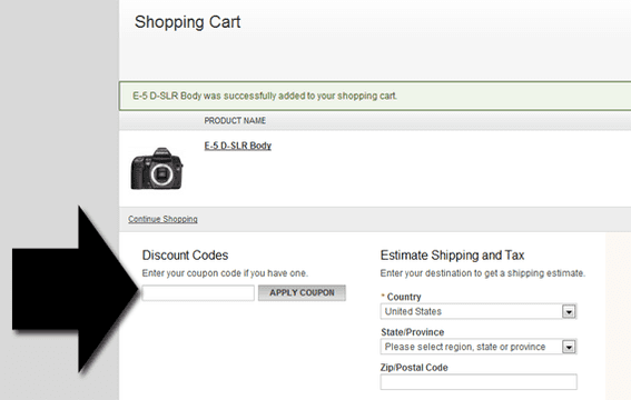 Olympus, like many retailers, gladly accepts coupon codes.