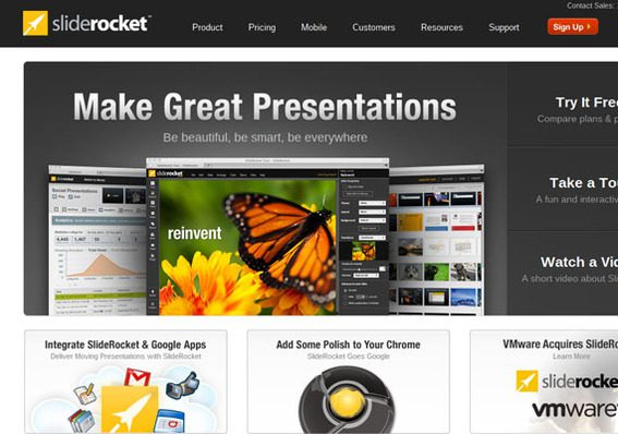 SlideRocket brings measurement, sharing, and multimedia to presentations in for your Chromebook.