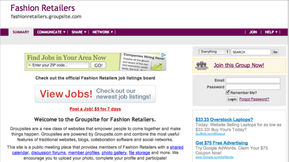 Fashion Retailers is a popular site powered by Groupsite.