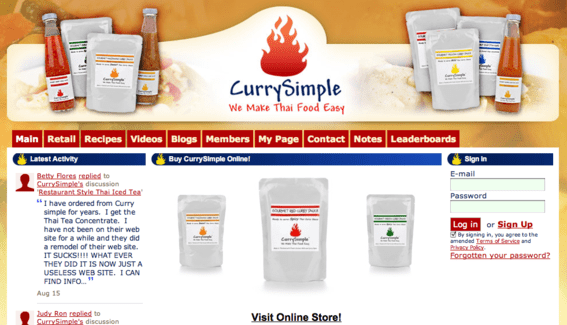 The entire CurrySimple site is powered by Ning.