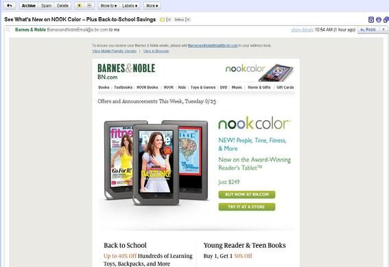 Within 24 hours of receiving cancel notification, thousands of customers — many of whom say they never signed up for Barnes & Noble's mailing list — received non-discounted sales pitches for the Nook