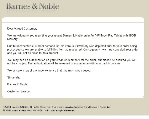 """Thousands of Barnes & Noble customers received a simple, apologetic email saying inventory was depleted. Many were irritated over the use of the term """"unexpected demand,"""" as the flurry of consumers seeking the deal was not a shock to the industry."""
