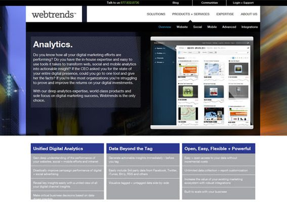 Webtrends offers an broad suite of analytics tools.