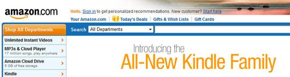 The previous Amazon header was heavy with color and text.