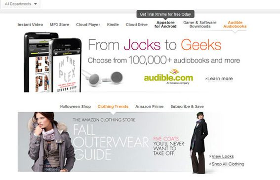 The new Amazon site has two content sliders on its home page.