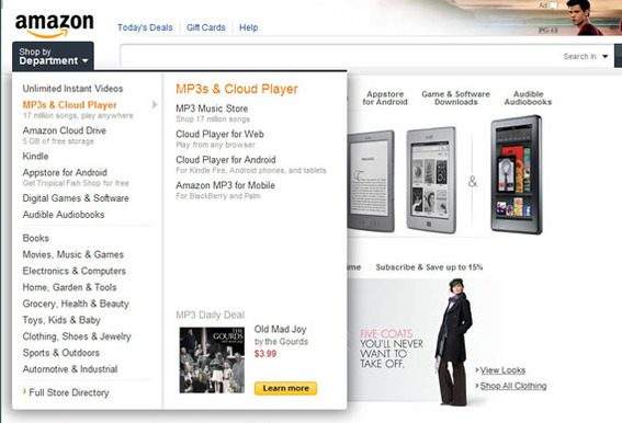 The new Amazon site includes design details that were not found in the earlier site.