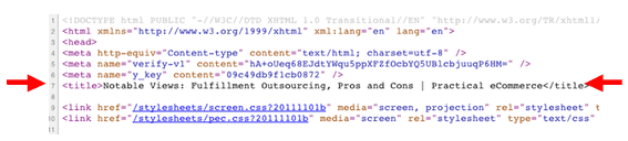 Title tags appear near the top of the underlying HTML markup, as shown in this Practical eCommerce article.