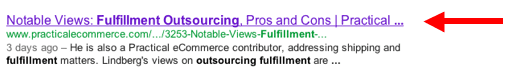 Search results pages — this one is from Google — prominently display the title tag for a Practical eCommerce article.