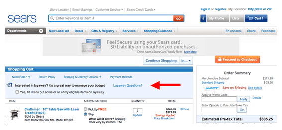 Sears' shopping cart offers layaway options during the checkout process.