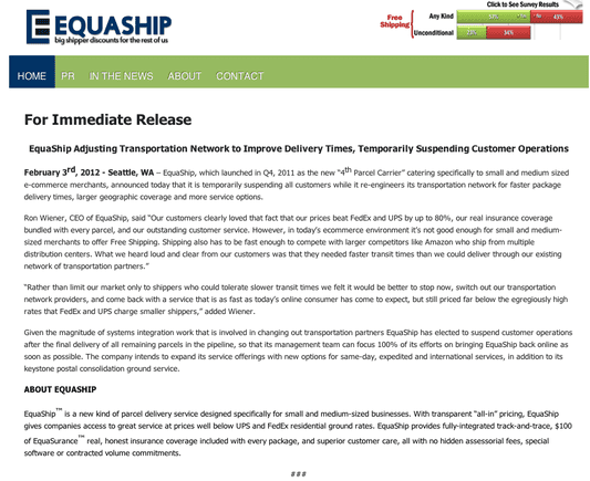 """Equaship announcement, suspending operations. Click on the """"Enlarge"""" link to read entire text."""