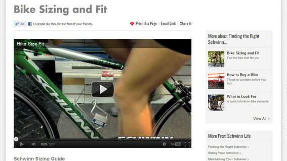 Schwinn gives customer more than just product content.