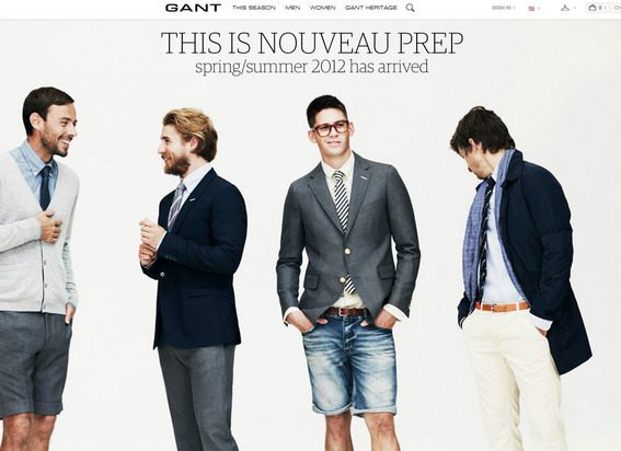 Gant's site features large bold images.