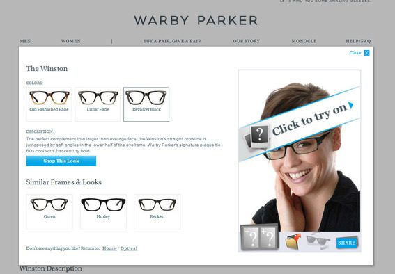 Parker's virtual try on is ahead of the curve in ecommerce marketing.