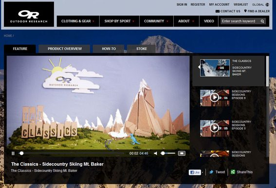 Outdoor Research has a video section on its Magento site.