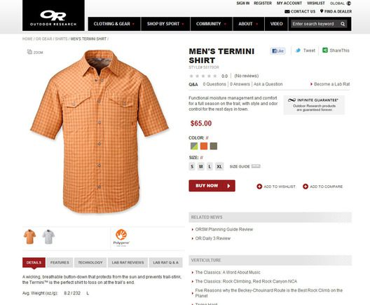 A well organized product detail page can help site conversions.