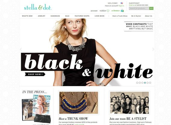 The Stella & Dot home page is an excellent example of modern site design.