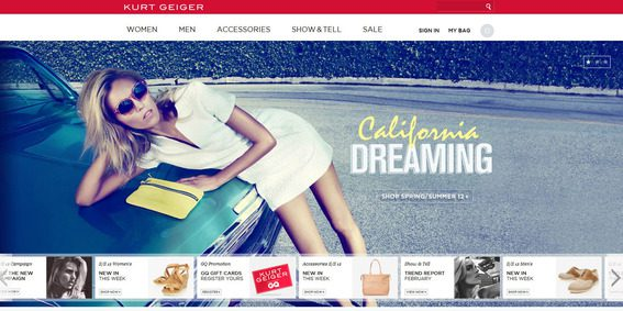 The Kurt Geiger site, like some other Magento sites, features a full-width content slider.