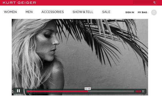 The Show and Tell section of the Kurt Geiger site is an example of content marketing.