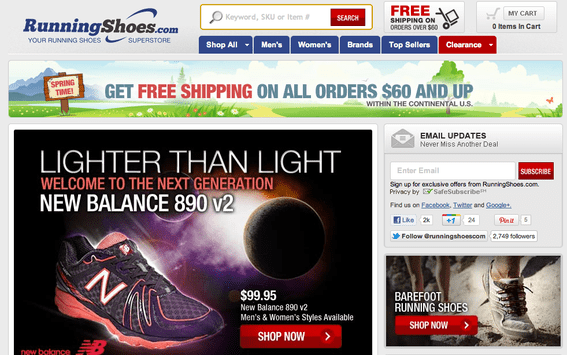 RunningShoes.com features a new running shoe, from New Balance, prominently on its home page.