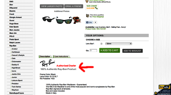 ShadesDaddy.com, a retailer of eyewear, emphasizes being an authorized Ray-Ban dealer. This helps with authenticity.
