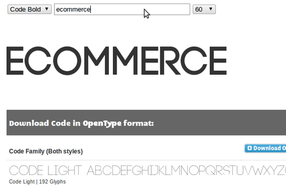 Code is available at Font Squirrel from Fontfabric.