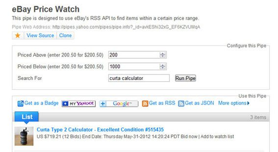 The eBay Price Watch Pipe, which Ed Ho created, monitors items on the popular auction site.