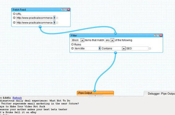 Filter can be added to alter the Pipe output.