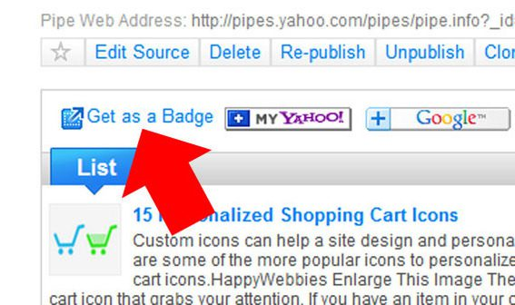 The Get as a Badge link is the key to posting Pipe output to any website.