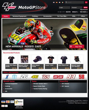 The MotoGP Store home page as customers see it.