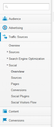 """Social data is now found under """"Traffic Sources"""" instead of """"Audience."""""""