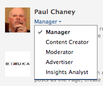 Page administrators can select from five roles.