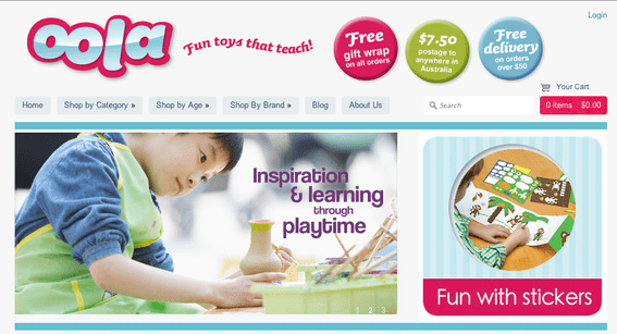 Oola offers fun toys that are also educational.