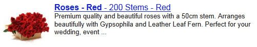 "The search result for a page optimized for ""roses red"""