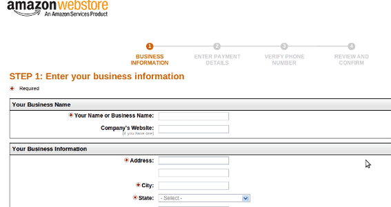 As expected, launching an Amazon Webstore begins with filling out a form.