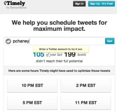 Timely schedules tweets for posting at optimal times.