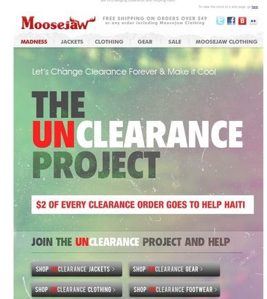 This Moosejaw email promotes charities in Haiti.