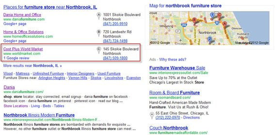 "A Google search for ""northbrook furniture store."""