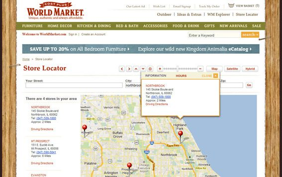 Cost Plus World Market's store locator with all information at one URL