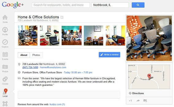 Home Office Solutions' Google+ Places page.