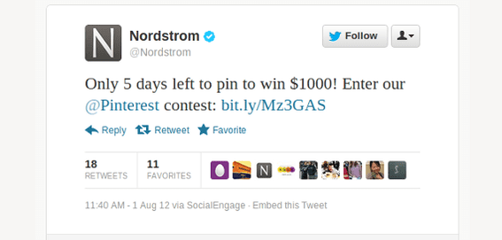 Nordstrom supported is pin-to-win contest across social media and on its own site.