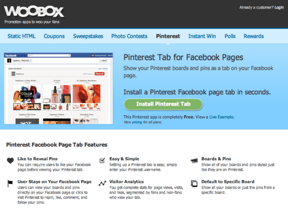 Woobox offers a free Pinterest Facebook Page app.