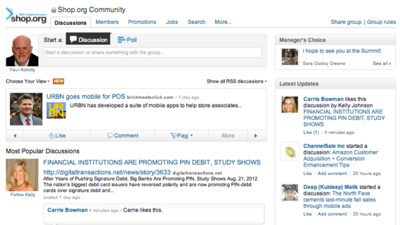 The Shop.org group provides a forum for ecommerce and multichannel retailers to share information.