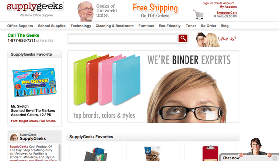 SupplyGeeks.com increased conversions by 17 percent using live chat — seen at the lower right in the home page image above.