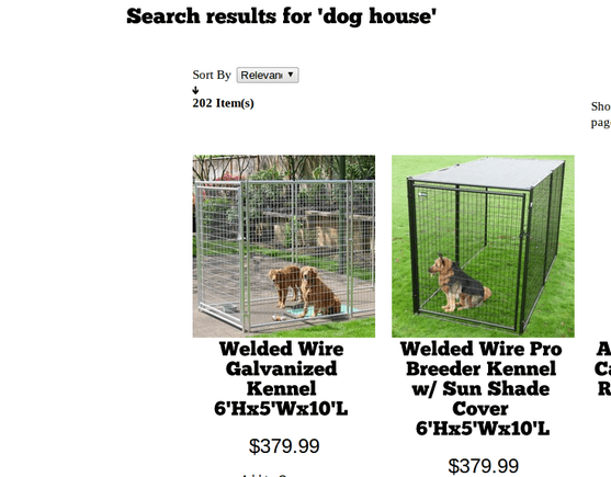The retailer includes, as the example described, dog kennels in the result set for search of dog houses.