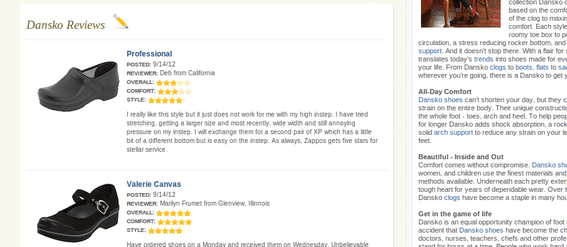 Zappos includes product reviews on some its search results pages.