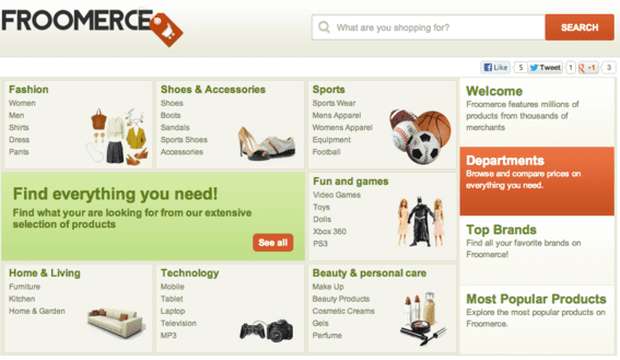 Froomerce enables merchants to market products across multiple channels.